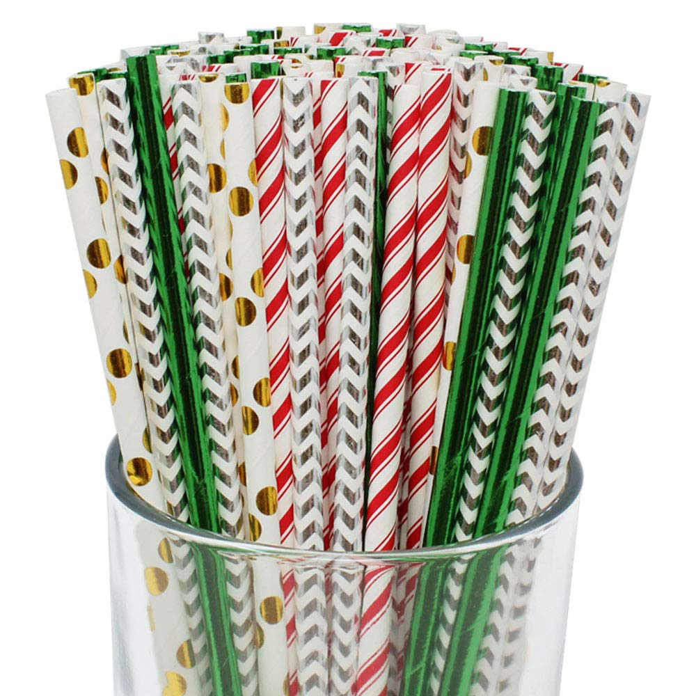 Premium Biodegradable 100pcs Christmas Decorative Paper Straws (Color: Candycane Lane) - Premier