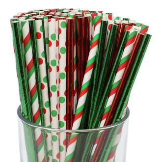 Premium Biodegradable 100pcs Christmas Decorative Paper Straws (Color: Christmas Cheer) - Premier