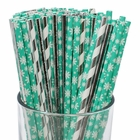 Premium Biodegradable 100pcs Christmas Decorative Paper Straws (Color: Winter Wonderland) - Premier