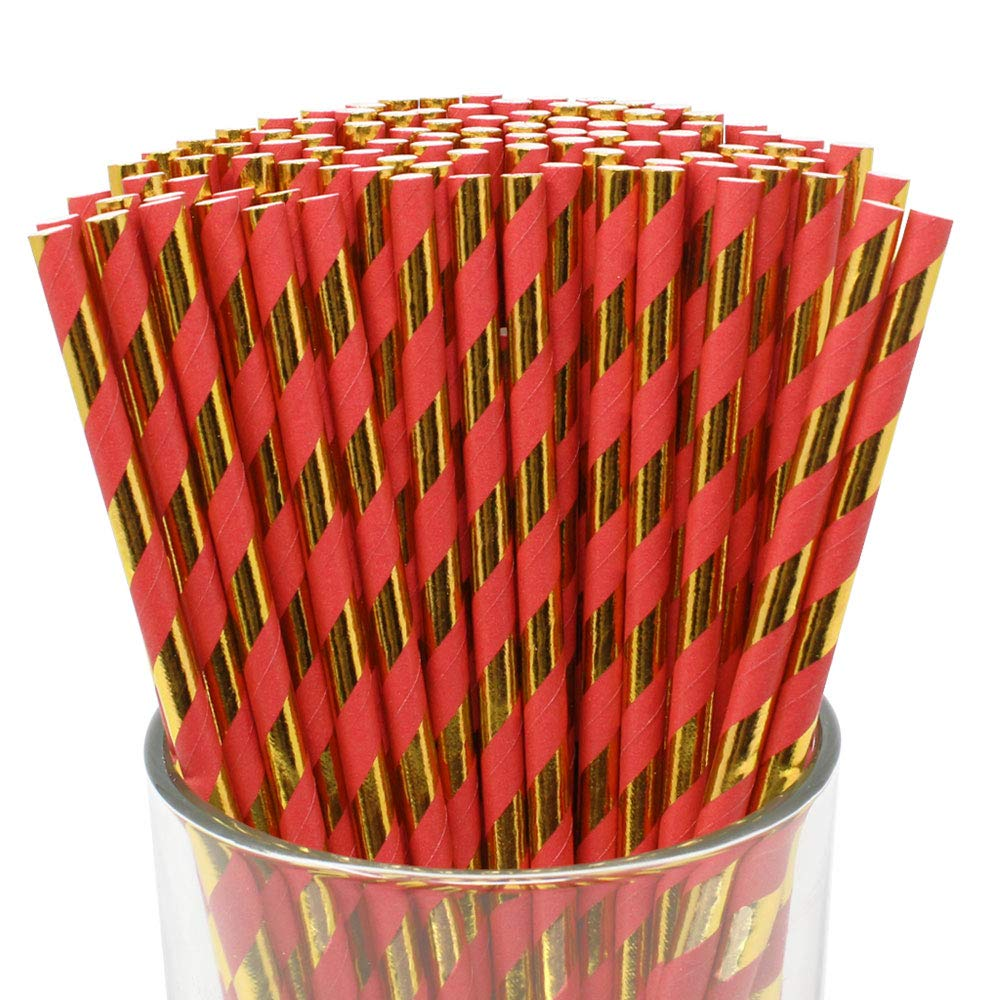 Premium Biodegradable 100pcs Christmas Pattern Paper Straws (Color: Holly Red/Gold Striped) - Premier