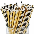 Premium Biodegradable 100pcs Decorative Paper Straws (Color: Black/Gold) - Premier