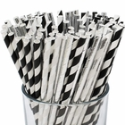Premium Biodegradable 100pcs Decorative Paper Straws (Color: Black Tie) - Premier