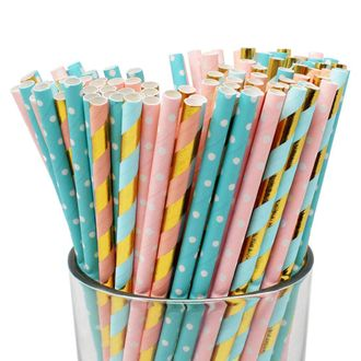 Premium Biodegradable 100pcs Decorative Paper Straws (Color: Gender Reveal) - Premier