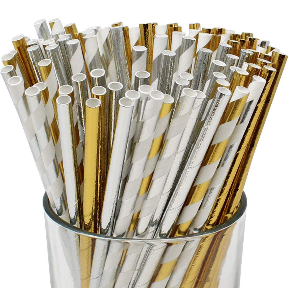 Premium Biodegradable 100pcs Decorative Paper Straws (Color: Silver/Gold) - Premier
