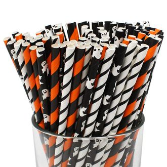 Premium Biodegradable 100pcs Halloween Decorative Paper Straws (Color: It's a Boo Thing) - Premier