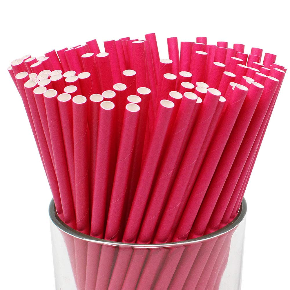 Premium Biodegradable 100pcs Solid Paper Straws (Color: Flamingo Pink) - Premier