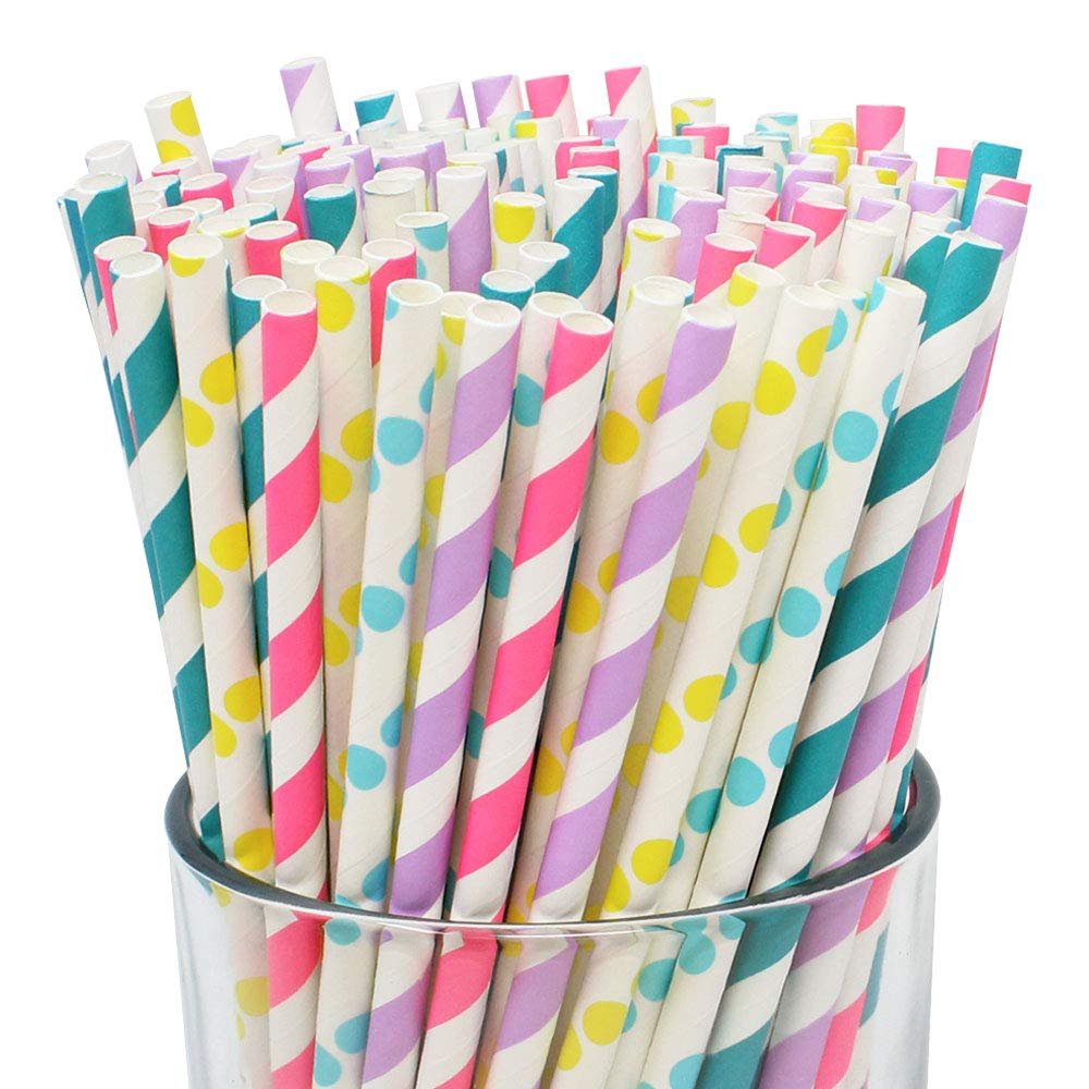 Premium Biodegradable 125pc Sprinkle/Donut Party Themed Paper Straws - Premier