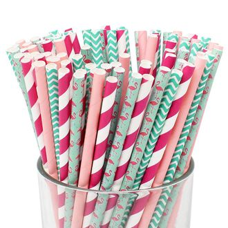 Premium Biodegradable Flamingo Patterned Paper Straws (100pcs, Flamingo Fun) - Premier