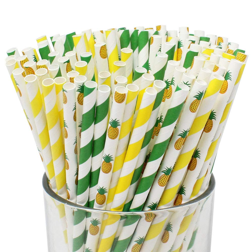 Premium Biodegradable Pineapple Patterned Paper Straws (100pcs, Pineapple Party) - Premier