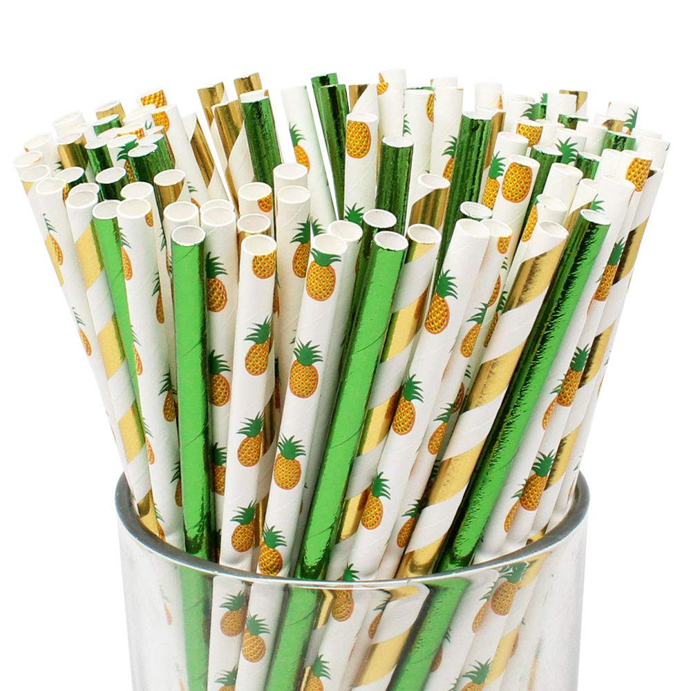 Premium Biodegradable Pineapple Patterned Paper Straws (100pcs, Pineapple Passion) - Premier