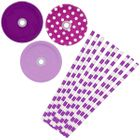 Princess Purple Mason Jar Beverage Kit 12pcs Lids 25pcs Paper Straws -Premier