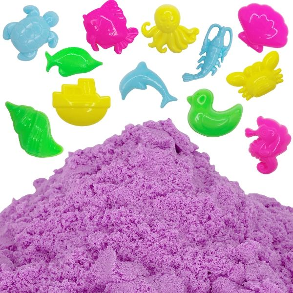 Purple 1lb Sensory Play Sand with 12 Aquatic Molds