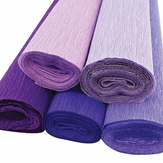 Purple Assorted Crepe Paper Roll Package 5pcs