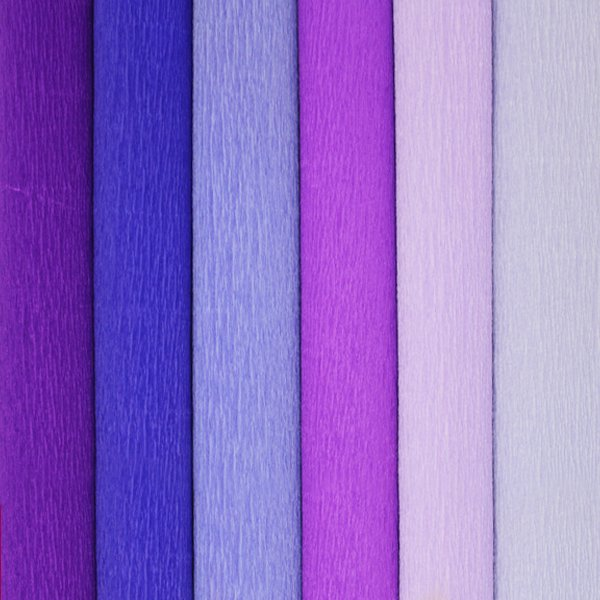 Purple Assorted Crepe Paper Roll Package 6pcs