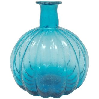 CLEARANCE Recycled Glass Pumpkin Vase Turquoise Blue Oceana