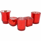 Red 5pcs Assorted (Size, Style) Mercury Glass Votive Tealight Candle Holder Set - Premier