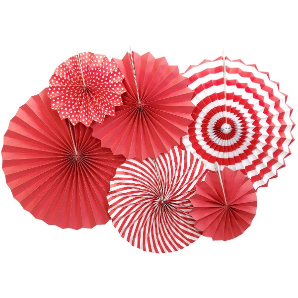 Red and White Paper Pinwheel Decorating Kit 6pcs