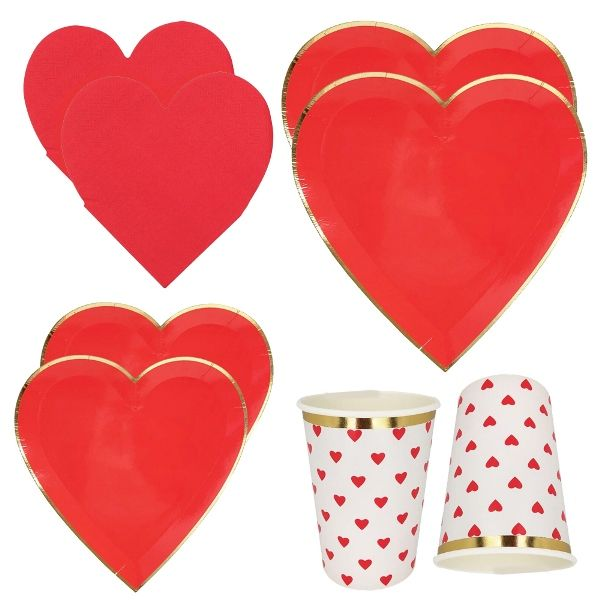 Red Hearts Tableware Kit 39pcs - Premier