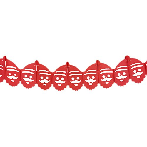 Red Santa Expandable Tissue Paper Garland Party Streamers (6 Pack, Red) - Premier
