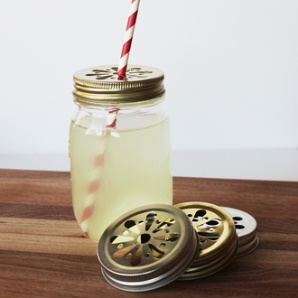Regular Mouth Mason Jar Daisy Cut Lid Gold - Lid Only
