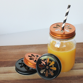 Regular Mouth Mason Jar Daisy Cut Lid Orange - Lid Only