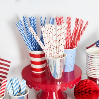 Reusable Plastic Straws 25pcs Striped Red