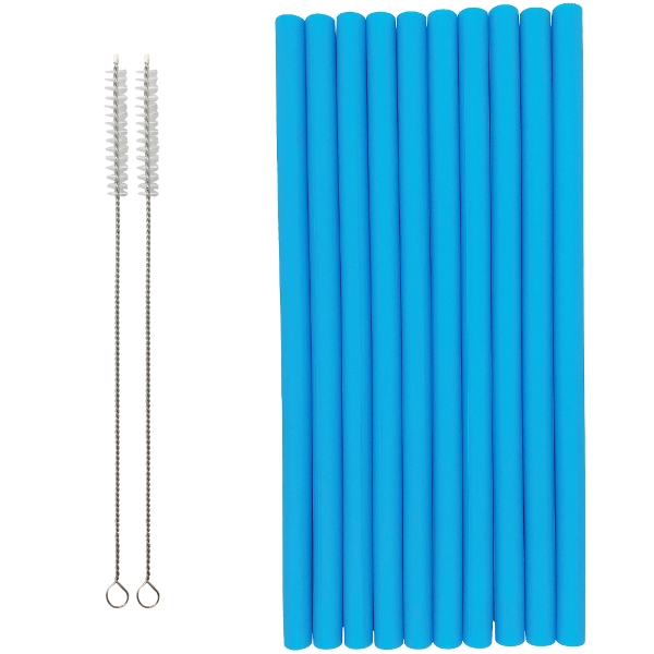 Reusable Silicone Smoothie Straws 10pcs Aquamarine Blue