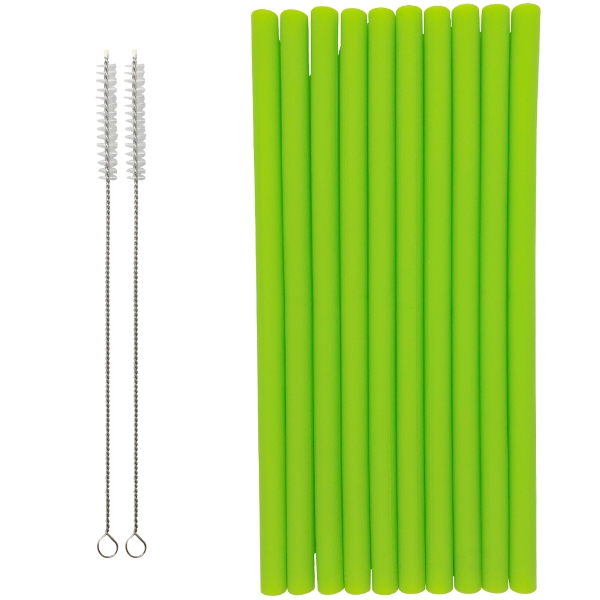Reusable Silicone Smoothie Straws 10pcs Green Apple