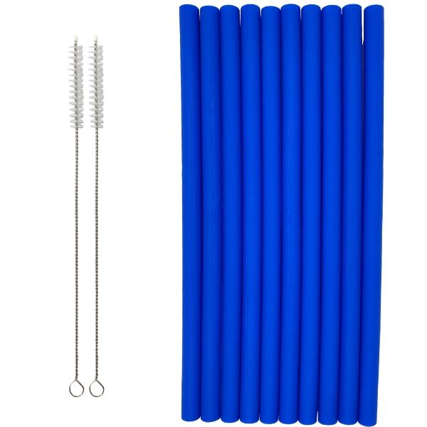 Reusable Silicone Smoothie Straws 10pcs Royal Blue