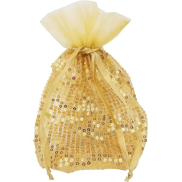 Ribbon Organza Favor Bag 10pcs Gold Sequence