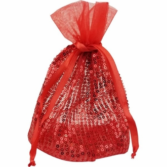 CLEARANCE Ribbon Organza Favor Bag 10pcs Red Sequence