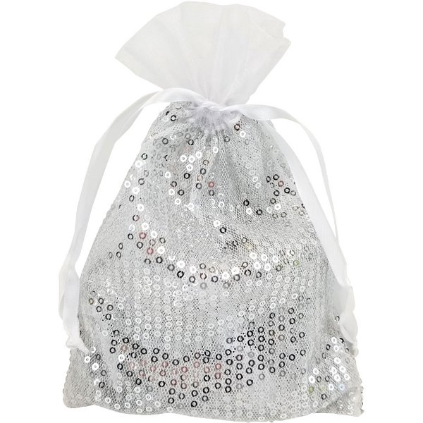 Ribbon Organza Favor Bag 10pcs White Sequence