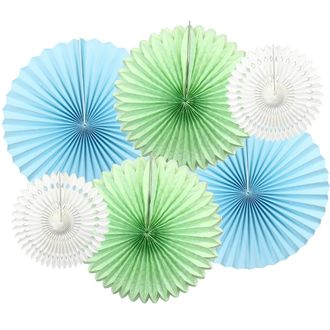 Rock A Bye Blue Pinwheel and Tissue Fan Decorating Kit 6pcs