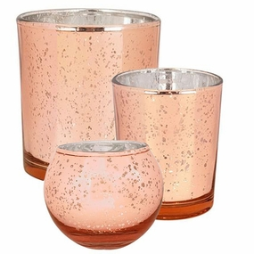 Rose Gold Glass Candle Holders