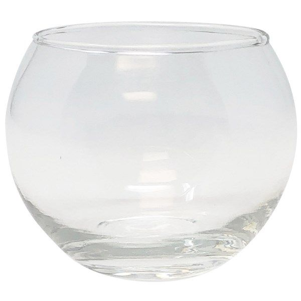 "Round Clear Glass Candle Holder 2""H"