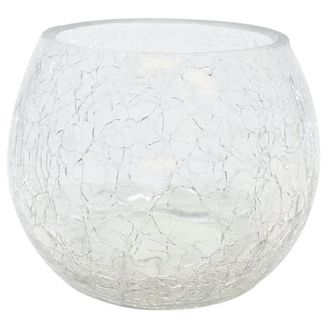 """Round Crackled Glass Votive Candle Holder Clear 2.75""""H"""