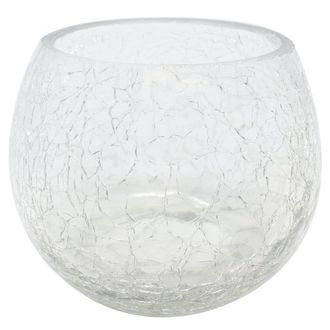 """Round Crackled Glass Votive Candle Holder Clear 3""""H"""