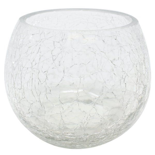 "Round Crackled Glass Votive Candle Holder Clear 3""H"