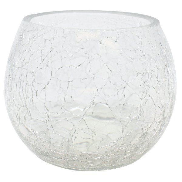 "Round Crackled Glass Votive Candle Holder Clear 4""H"