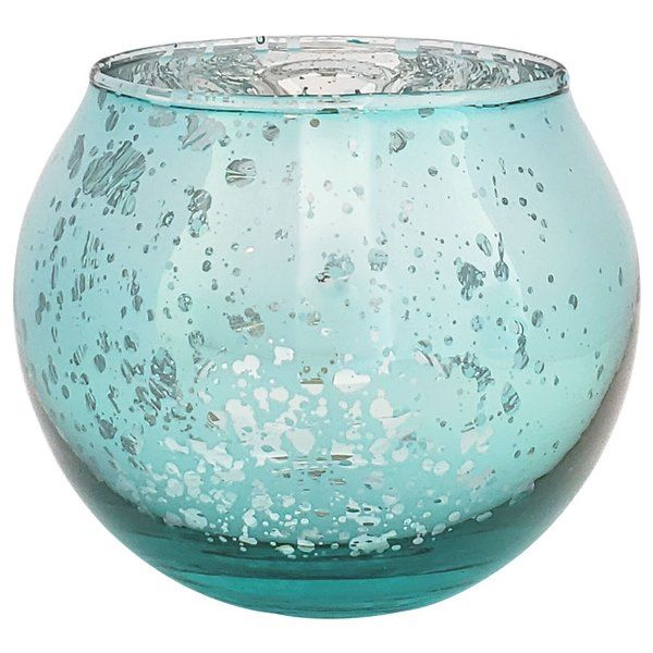 "Round Mercury Glass Votive Candle Holder 2""H Speckled Aqua"