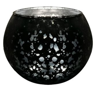 "Round Mercury Glass Votive Candle Holder 2""H Speckled Black"