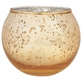 "Round Mercury Glass Votive Candle Holder 2""H Speckled Gold"
