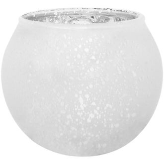 "Round Mercury Glass Votive Candle Holder 2""H Speckled Matte White Silver"