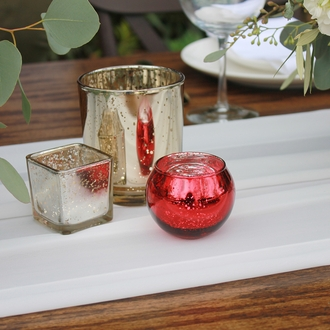 "Round Mercury Glass Votive Candle Holder 2""H Speckled Red"
