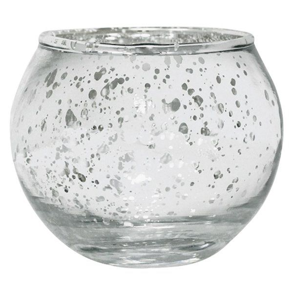 Round Mercury Glass Votive Candle Holder 2 H Speckled Silver