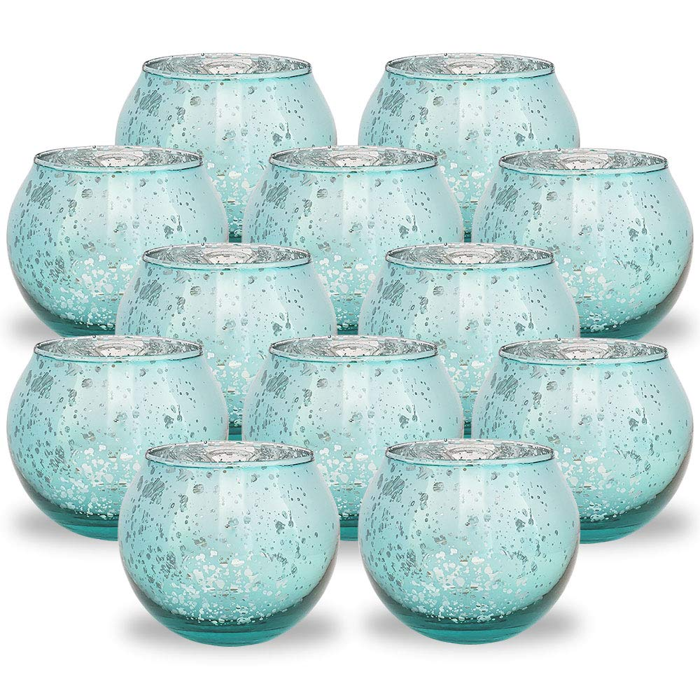Round Mercury Glass Votive Candle Holder 2-Inch (Speckled Aqua, Set of 12) - Premier