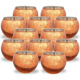 Round Mercury Glass Votive Candle Holder 2-Inch (Speckled Copper, Set of 12) - Premier