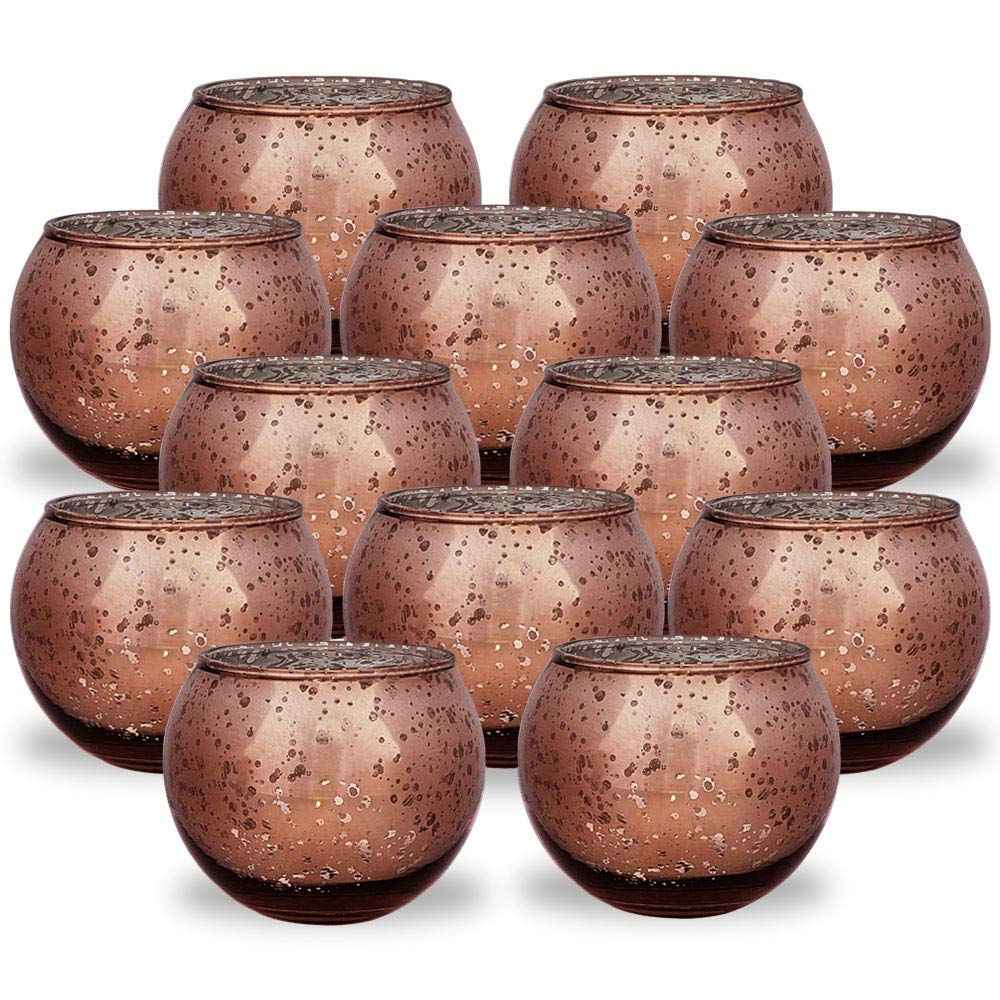 Round Mercury Glass Votive Candle Holder 2-Inch (Speckled Marsala, Set of 12) - Premier