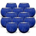 Round Mercury Glass Votive Candle Holder 2-Inch (Speckled Navy, Set of 12) - Premier