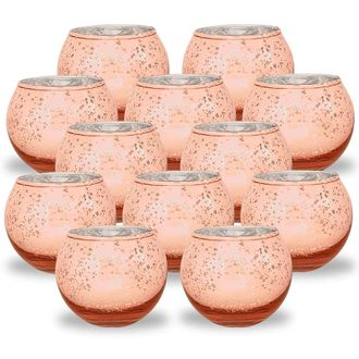 Round Mercury Glass Votive Candle Holder 2-Inch (Speckled Rose Gold, Set of 12) - Premier